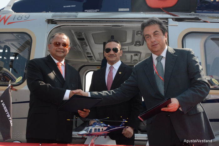 Weststar General Aviation orders three AgustaWestland helicopters at the Langkawi International Maritime and Aerospace (LIMA) Exhibition 2015: one AW119Kx, one GrandNew and one AW169