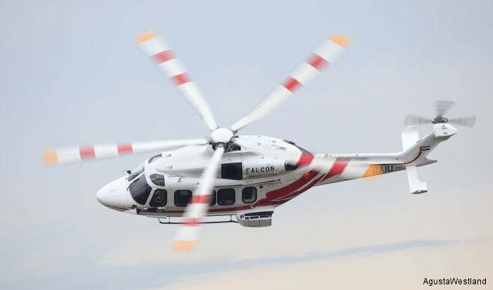 Falcon Aviation Services of Abu Dhabi, United Arab Emirates has taken delivery of two AgustaWestland AW189 super medium helicopters in offshore transport configuration.