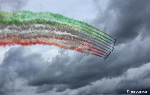 Italian Pattuglia Acrobatica Nazionale (PAN) aerobatic team, nicknamed the Frecce Tricolori, flying Aermacchi MB-339