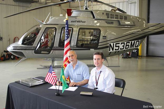 Bell Helicopter announced the delivery of the first Bell 407GXP to Brazil. Will be used for corporate transport in Curitiba, Parana.
