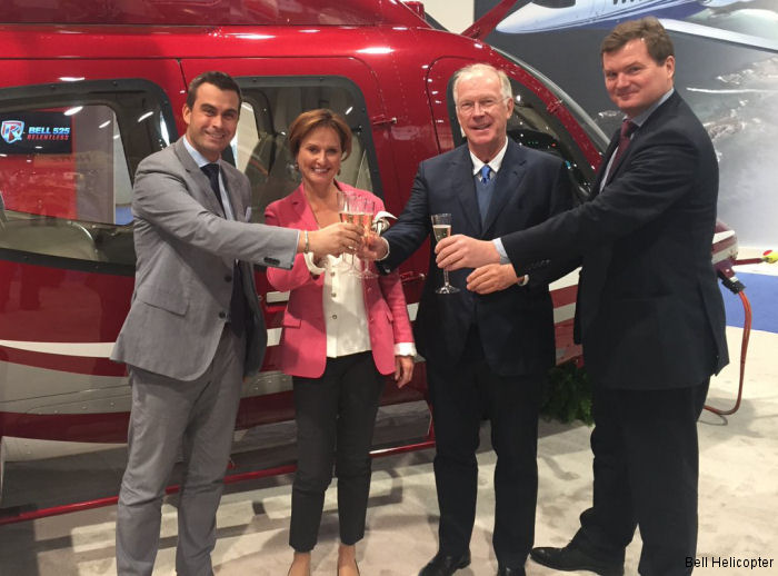 Bell Helicopter announced the sale of the first Bell 407GXP to Germany in VIP configuration during NBAA 2015 in Las Vegas