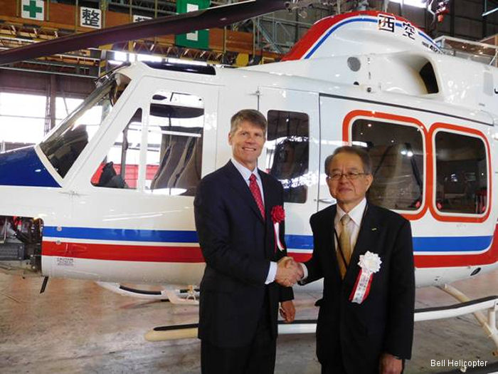 Bell Helicopter announced delivery of a Bell 412EP to Nishi Nippon Airlines Co., Ltd. The first sale conducted through Bell Helicopter's new office in Tokyo
