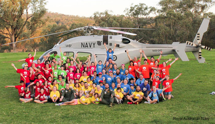Royal Australian Navy Bell 429 from 723 Squadron visited Camp Quality  Childrens  Family Cancer Charity