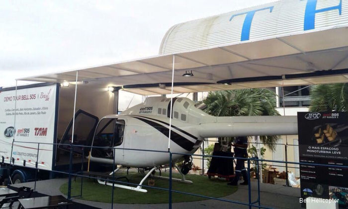 The Bell 505 mockup at recent <a href=/database/airshow/LABACE_2015/>LABACE 2015</a> expo.  Now in a Brazilian demo tour will visit  Camboriú, Curitiba, Belo Horizonte, Vitória, Salvador, Goiania, Ribeirão Preto, São Paulo, Rio de Janeiro and Angra dos Reis.