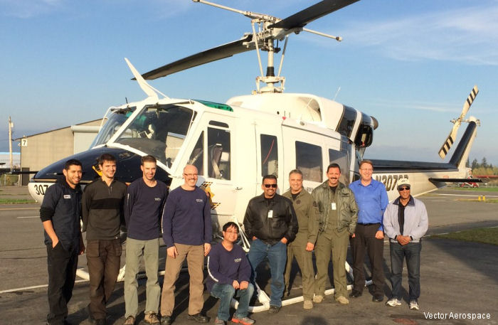 Vector Aerospace announce completion of a modification and upgrade for the California s San Bernardino County Sheriff Department's Bell 212 helicopter.