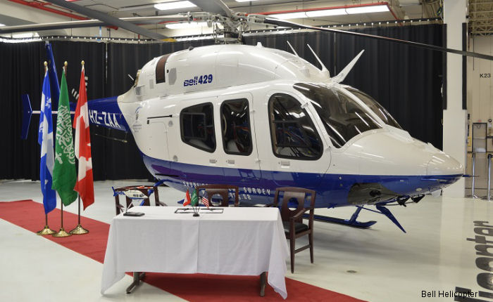 Bell Helicopter announced the delivery of a Bell 429 to Saudi Geological Survey (SGS). The aircraft is configured to perform utility roles in the Middle East.