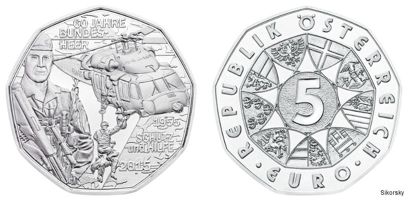 Austrian Mint issued silver and copper 5 euro coins with a Black Hawk helicopter in a life-saving role to commemorate this month s 60th anniversary of the Austrian Armed Forces (Bundesheer)