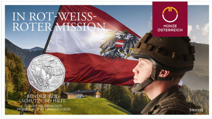 Austrian Commemorative Coins Honoring Armed Forces Depict Black Hawk Helicopter in Rescue Role