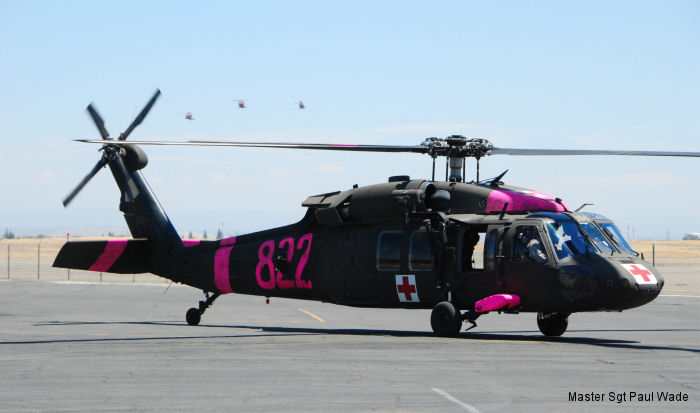 California Army National Guard, 40th Combat Aviation Brigade Task Force Medevac were training at Folsom Lake in Sacramento with Bambi bucket for the fire season.