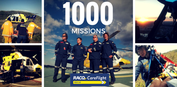 RACQ CareFlight Rescue has airlifted a patient bitten by what is believed to be a deadly Tiger Snake. The hospital transfer marks the 1,000th mission for RACQ CareFlight Rescue in just eight months.