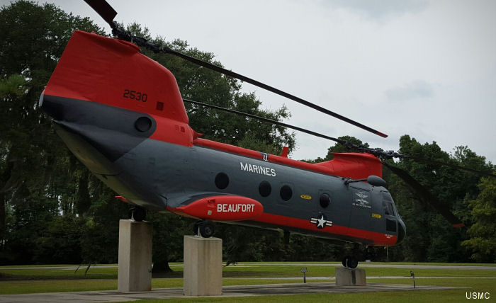 A CH/HH-46 Sea Knight helicopter on display outside the MCAS Beaufort  Headquarters building in South Carolina is dedicated to Hospital Corpsman 1st Class Kevin Frank.