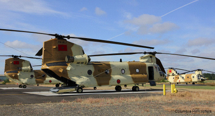 Columbia Helicopters completed an extensive military maintenance contract that delivered three ex US Army Boeing CH-47D Chinook helicopters to the Royal Moroccan Air Force (RMAF).