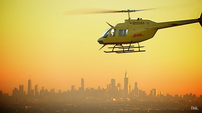 DHL helicopter service launched in Downtown Chicago serves banking and legal firms requiring urgent deliveries. Additional service in London, UK enables new overnight delivery from Eastern U.S.
