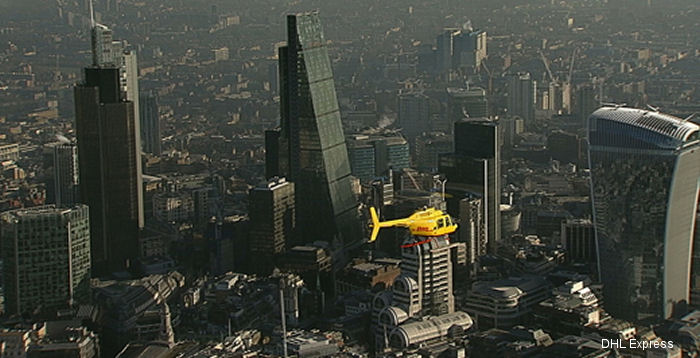 A Bell 206 Jet Ranger, operated for DHL Express by Heli-Charter Ltd, from January 21 is London s first ever scheduled helicopter delivery service transporting over 300 kg of letters and packages