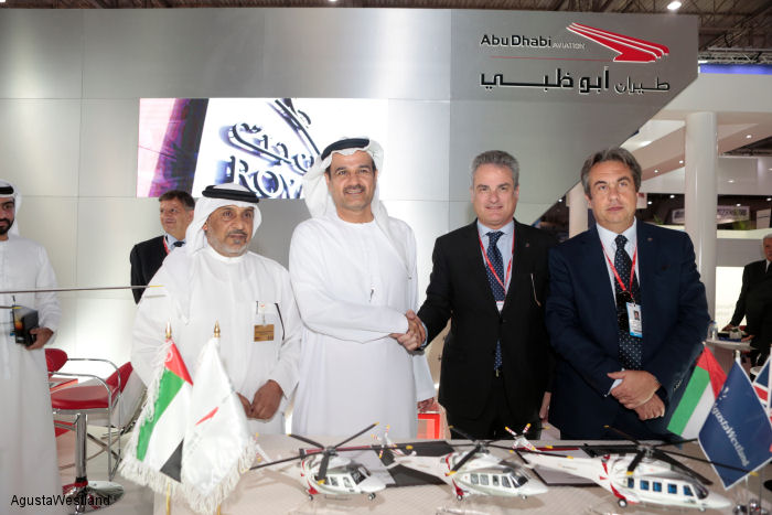 Abu Dhabi Aviation (ADA) has agreed to acquire 15 AW139, AW169 and AW189 helicopters scheduled  to be delivered from 2016 through to 2019
