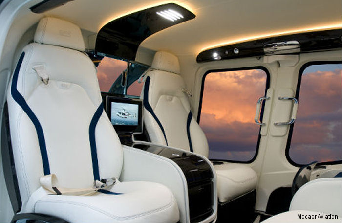 The first Bell 429 to be installed with the VVIP luxury interior by Mecaer Aviation Group will be showcased at the European Business Aviation Convention & Exhibition (EBACE) May 19-21 in Geneva