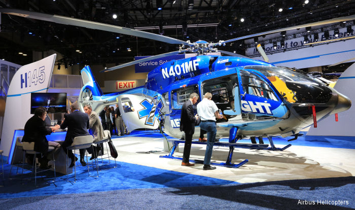 Dare County MedFlight of North Carolina is U.S. launch customer for Airbus Helicopters EC145 T2 on display at Heli-Expo 2015