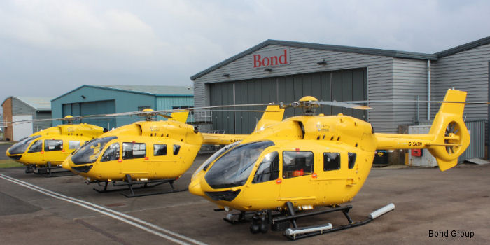 All three of the UK's H145 helicopters now at Bond Air Services in Staverton