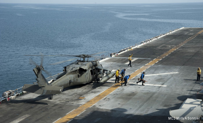 US Army 185th Theater Aviation Brigade Black Hawks and Apaches took part in a joint deck-landing qualification exercise with the USS Essex, a Wasp-class Amphibious Assault Ship, in the Persian Gulf.