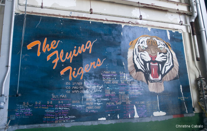 "A piece of aviation history was discovered after uncovering a mural from HMM-262 ""The Flying Tigers"" inside Hangar 102 at Marine Corps Air Station Kaneohe Bay, Hawaii"