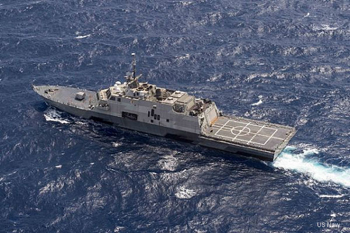 USS Fort Worth (LCS 3), a Freedom class Littoral combat ship with a MH-60R and an UAV MQ-8B Fire Scout from <a href=/database/sqd/1385/>HSM-35</a> aboard, surpassed the one-year mark on her scheduled 16-month rotational deployment to Singapore