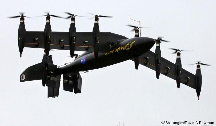 NASA battery-powered, 10-engine remotely piloted Greased Lightning GL-10 which can take off like a helicopter and fly like an airplane transitioned succesfully from hover to wing-borne flight