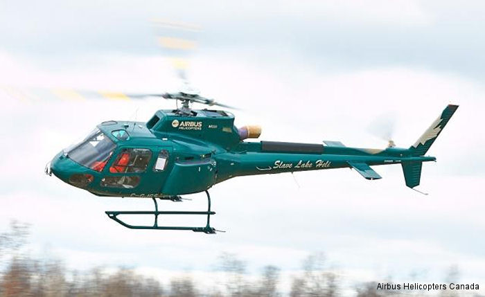 Airbus Helicopters Canada delivered a new H125/AS350B3e to Slave Lake Helicopters in Alberta