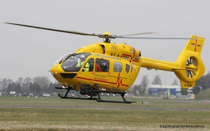 East Anglian Air Ambulance (EAAA) celebrates arrival of its new H145. Has begun service operation as Anglia Two based at Cambridge Airport and is the first of its kind to go into service in England