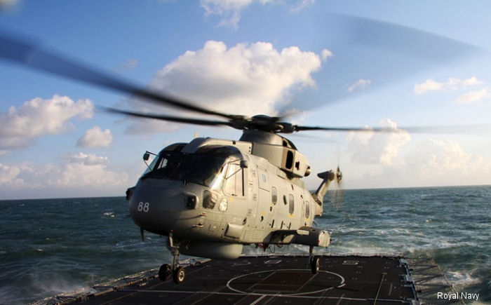 Royal Navy Merlin Mk2 helicopter in first Middle East deployment aboard HMS St Albans type 23 frigate