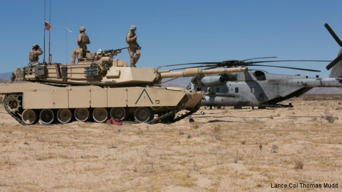 Marines of Company A, 1st Tank Battalion conducted a tactical refueling exercise with Marine Heavy Helicopter Squadron HMH-465 at Acorn Training Area, Air Ground Combat Center Twentynine Palms, California
