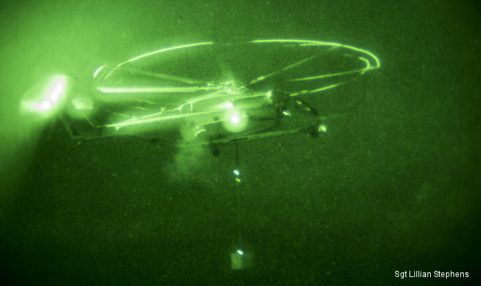 During the four-hour training event, Marines with HMH-466 and CLB-1 repeatedly secured, lifted and released a 10,000-pound / 4,535-kgs  weight at night, when visibility was at its lowest.