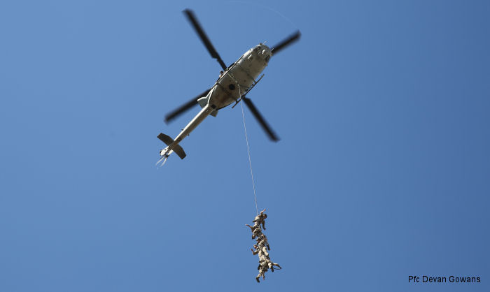 U.S. Marines with Company A, 1st Reconnaissance Battalion conducted a fast-rope and Special Patrol Insertion and Extraction rigging exercise with HMLA-369 squadron at Camp Pendleton, California