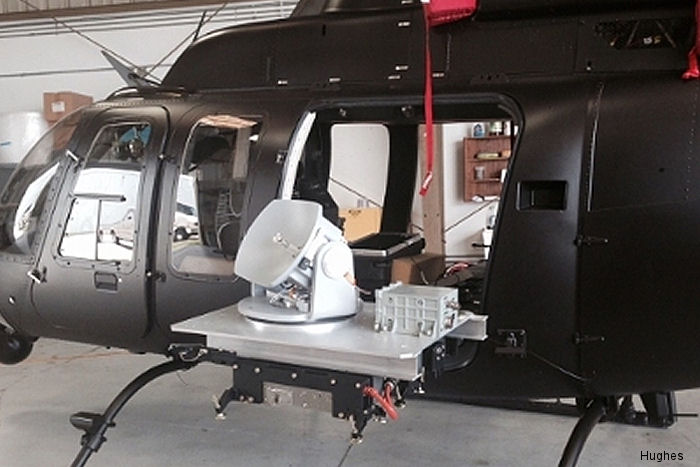 Hughes Network Systems Defense and Intelligence Systems Division  demonstrated the transmission of real-time HD video through the Bell 407 helicopter blades with no signal disruption using its BLoS technology.