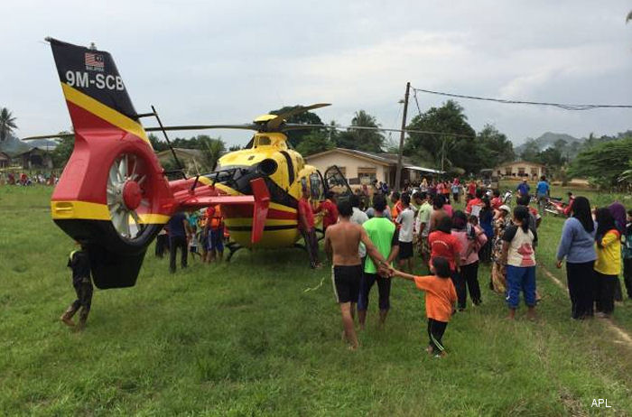 Malaysia flood victims get help from Airbus Helicopters machines