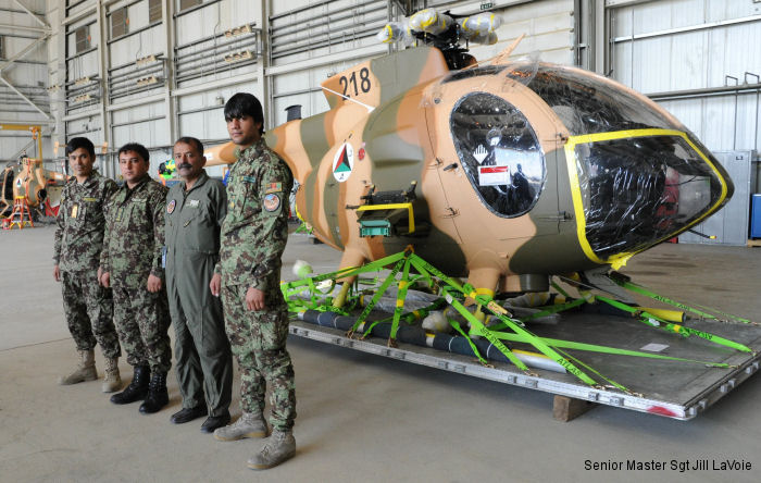 First six, of 12 ordered in October 2014, armed MD 530F Cayuse Warrior Scout Attack Helicopters for the Afghan Air Force arrived to Kabul