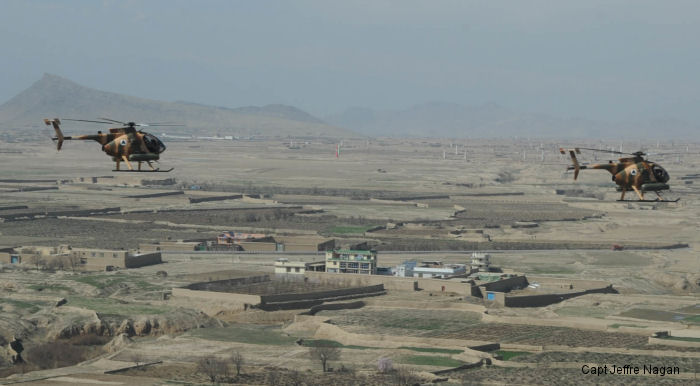 MD-530 Jengi helicopter flies over Afghanistan