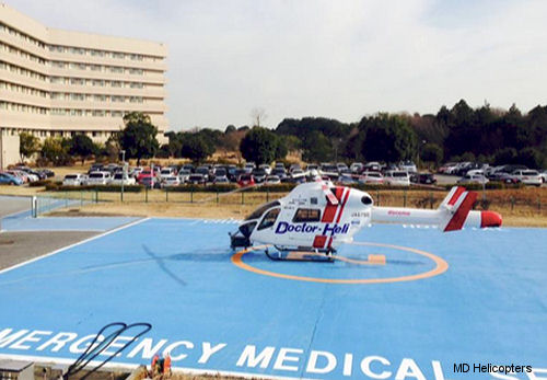 MD Helicopters celebrates Aero-Asahi Corp and Chiba Hokusoh Hospital for setting a Japanese HEMS record, flying 10,000 Doctor-Heli Missions by MD902