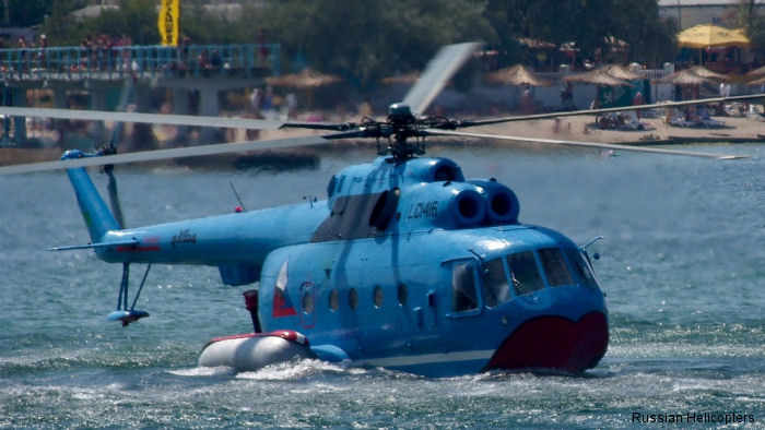 During IMDS 2015 being held in St. Petersburg, Russian Helicopters showcasing potential plans for the renewed production of the unique amphibious Mi-14 helicopter.