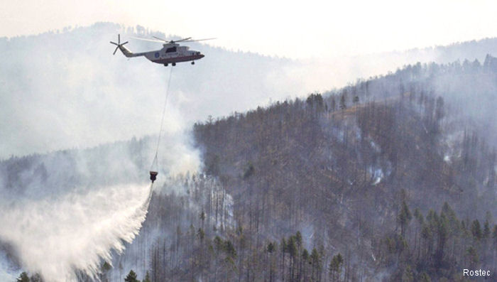 Mi-26, Mi-8, and Ka-32 helicopters have been assigned to around-the-clock duty due to the risk of fires in southern Russia.