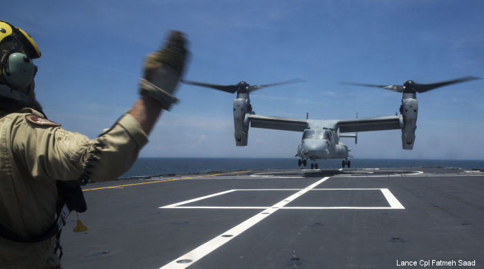 A VMM-261 Osprey made the first landing on a Royal Netherlands Navy ship. Support ship HNLMS Karel Doorman (A833) conduct interoperability tests near MCAS New River, NC on June 12