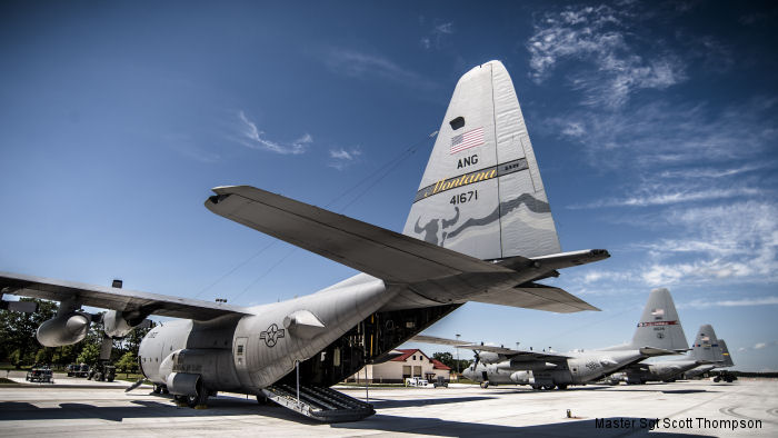 C-130 Hercules from Alaska, North Carolina, Illinois and Ohio Air National Guard units at Alpena Combat Readiness Center, Michigan in preparation for Exercise Northern Strike 2015