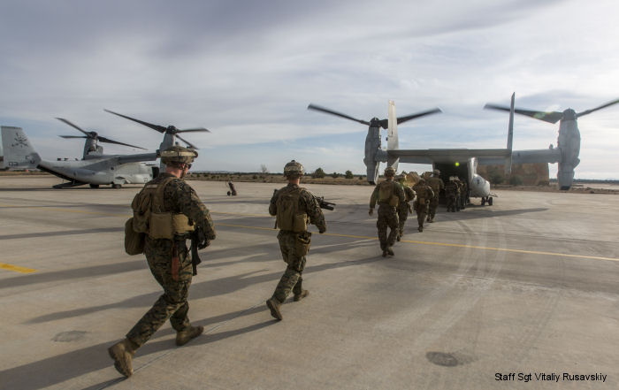 U.S. Marines with Special-Purpose Marine Air-Ground Task Force Crisis Response-Africa (SPMAGTF-CR-AF) MV-22B Osprey supports NATO training exercise at Llanos airbase, Albacete, Spain