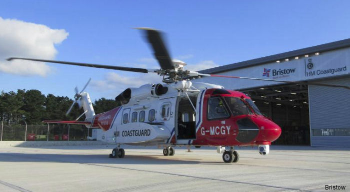 The first of two S-92 arrived at the new HM Coastguard base at Newquay Airport to begin operations in January 2016. The aircraft and the base are operated by Bristow under a ten year UK SAR contract
