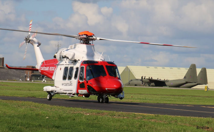 An AW139 SAR helicopter based at St Athan in Wales carried out the first operational mission. Bristow Helicopters commenced SAR helicopter operations on behalf of HM Coastguard October 4.