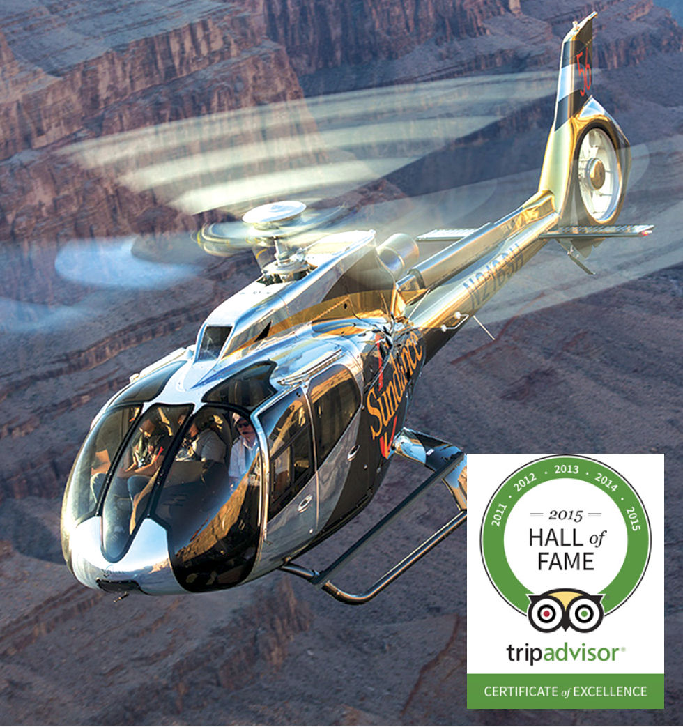 Sundance Helicopters, a helicopter tour company in Las Vegas, was awarded the 2015 Tripadvisor Certificate Of Excellence