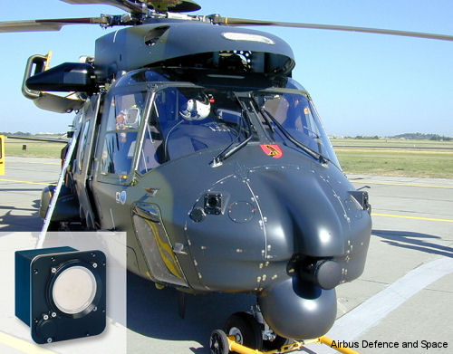 The MILDS forward sensor heads with a <a href=/database/model/77/>NH90</a> helicopter