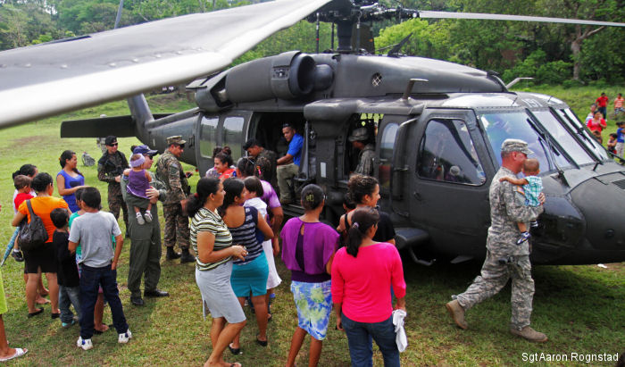 U.S. UH-60 Black Hawk and Salvadoran air force visited El Coco community as part of the Beyond the Horizon 2015 initiative. BTH 15  help build schools, clinics and provide medical aid in El Salvador