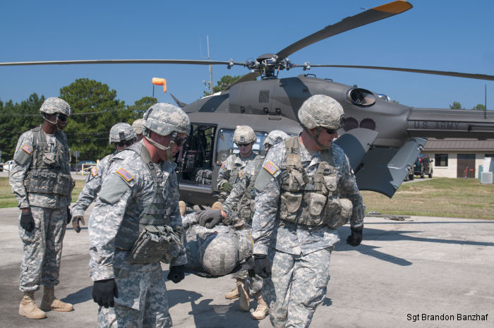 US Army Combat medics from 1st Cavalry Division met with 151st Air Ambulance to train on a smaller, more agile medical evacuation helicopter, the UH-72 Lakota at Camp Shelby, Mississippi