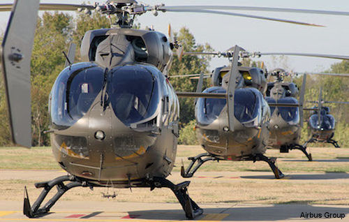 UH-72A Lakotas on flightline at Airbus Helicopters Inc. in Columbus, Miss.
