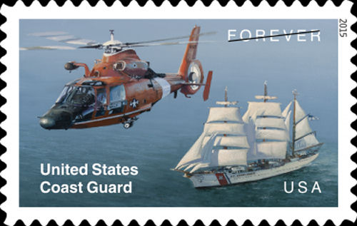 The U.S. Postal Service (USPS)  issues helicopter stamp to commemorate 225 years of US Coast Guard